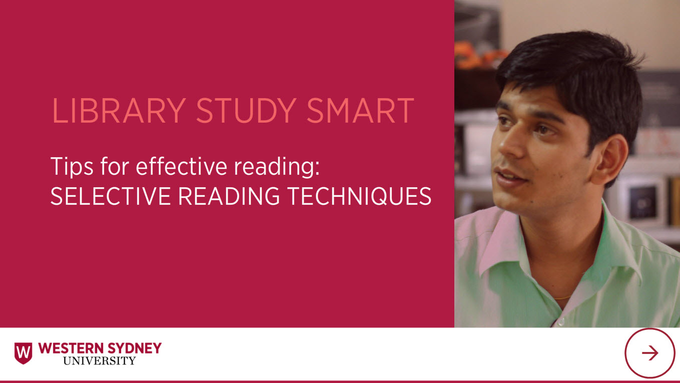 Library Study Smart Tips for effective reading: Selective reading. Male student.