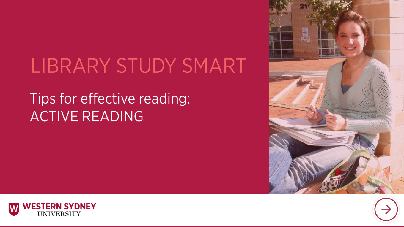 Library Study Smart Tips for effective reading: Active reading. Female student with books.