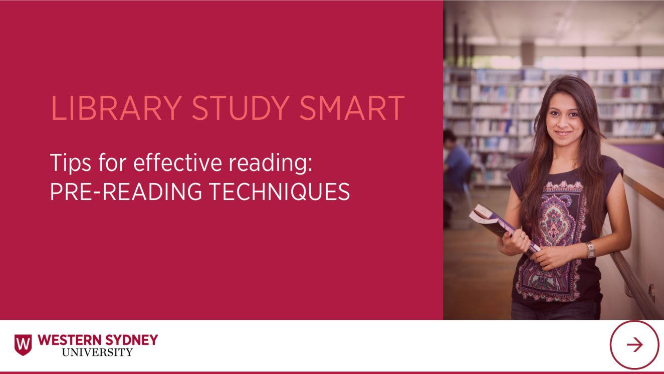 Library Study Smart Tips for effective reading: Pre-reading. Female student in library