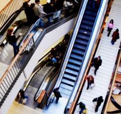 Futuristic escalator with people
